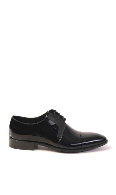 SAYKI Men's Classic Shiny Black Leather Shoes-SAYKI MEN'S FASHION