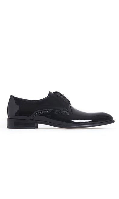 SAYKI Men's Cerimonia Neolith Shiny Leather Black Shoes-SAYKI MEN'S FASHION