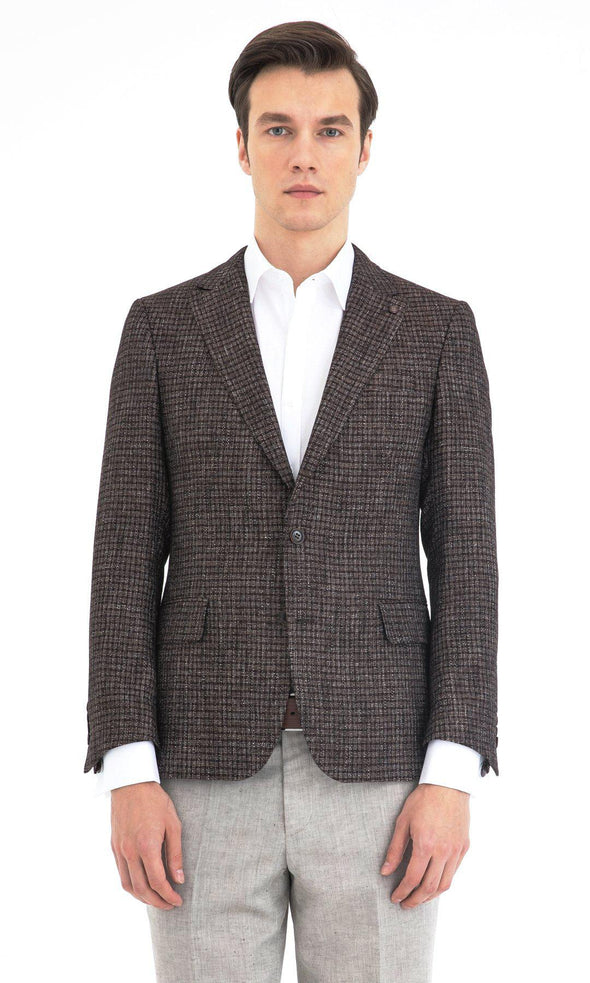 SAYKI Men's Slim Fit Brown Single Breasted Blazer