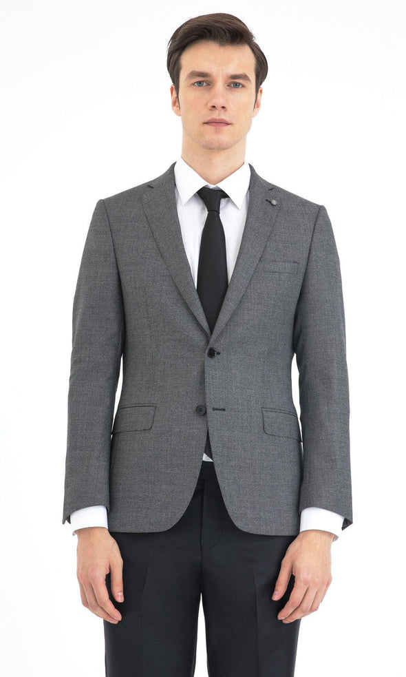 SAYKI Men's Slim Fit Grey Single Breasted Wool Suit