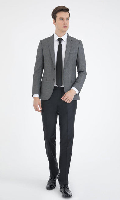 SAYKI Men's Slim Fit Grey Single Breasted Wool Suit-SAYKI MEN'S FASHION