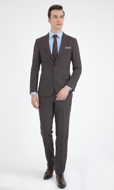 SAYKI Men's Slim Fit Brown Single Breasted Suit-SAYKI MEN'S FASHION