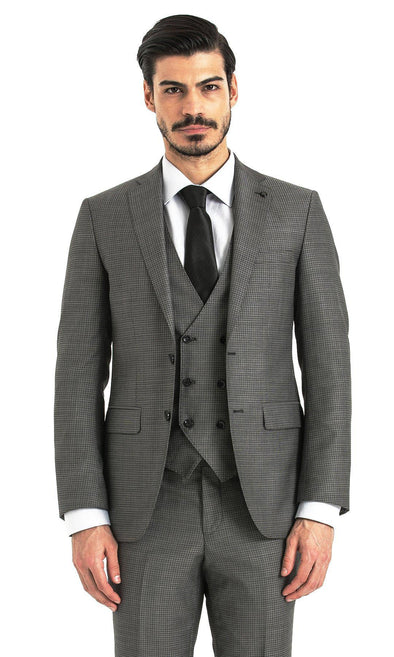 SAYKI Men's Slim Fit Charcoal Single Breasted Checkered Suit with Vest-SAYKI MEN'S FASHION