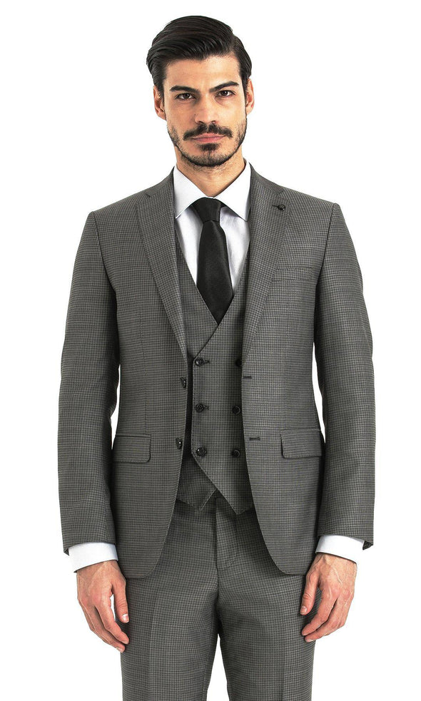 SAYKI Men's Slim Fit Charcoal Single Breasted Checkered Suit with Vest