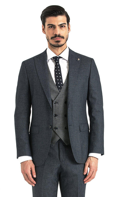 SAYKI Men's Double Breasted Slim Fit Grey Suit with Vest