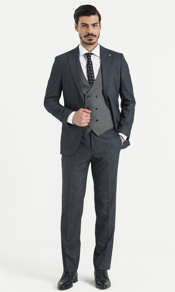 SAYKI Men's Double Breasted Slim Fit Grey Suit with Vest-SAYKI MEN'S FASHION
