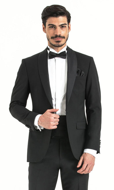 SAYKI Men's Slim Fit Cerimonia Black Tuxedo