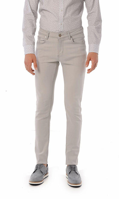SAYKI Men's Slim Fit Light Grey Jeans