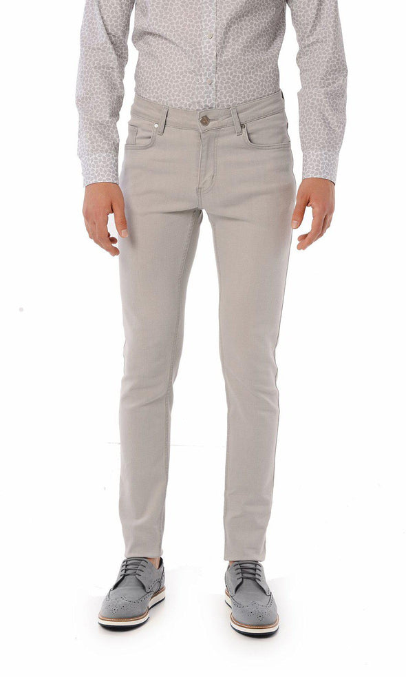 SAYKI Men's Slim Fit Light Grey Jeans-SAYKI MEN'S FASHION