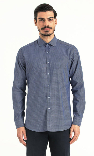 SAYKI Men's Slim Fit Blue Checkered Casual Cotton Shirt