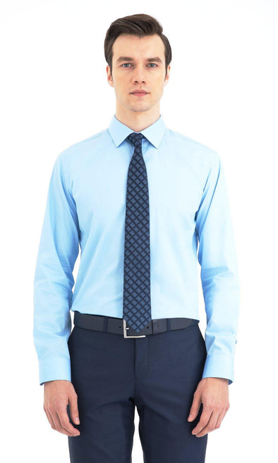 SAYKI Men's Slim Fit Cotton Light Blue Dress Shirt