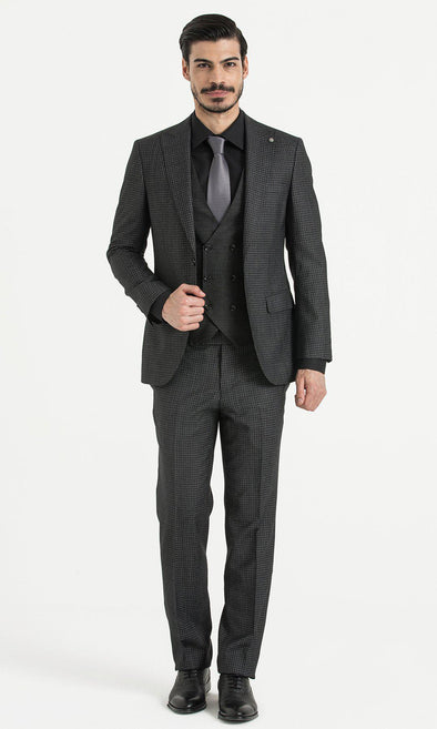 SAYKI Men's Slim Fit Black Single Breasted Wool Suit with Vest-SAYKI MEN'S FASHION