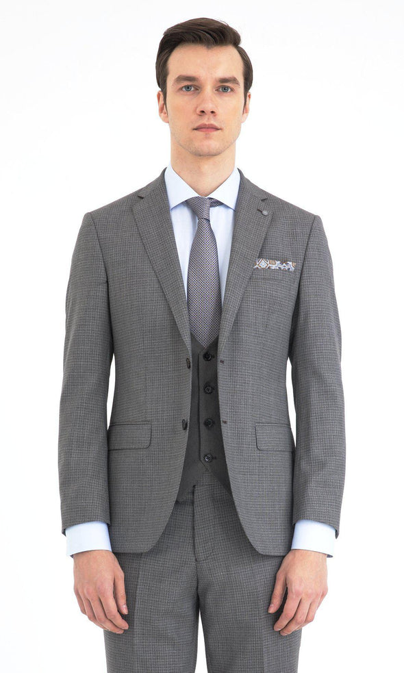 SAYKI Men's Slim Fit Grey Single Breasted Wool Suit with Vest