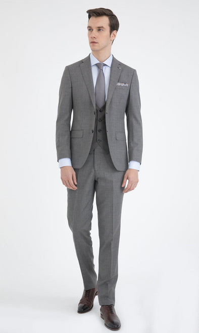 SAYKI Men's Slim Fit Grey Single Breasted Wool Suit with Vest-SAYKI MEN'S FASHION