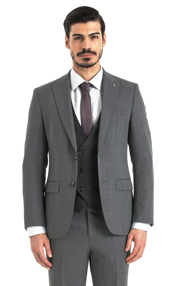 SAYKI Men's Slim Fit Single Breasted Grey Suit with Black Vest
