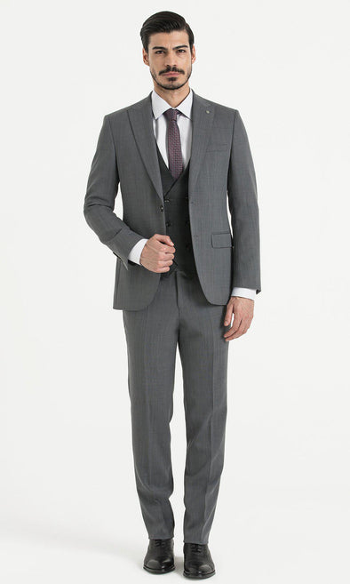 SAYKI Men's Slim Fit Single Breasted Grey Suit with Black Vest-SAYKI MEN'S FASHION