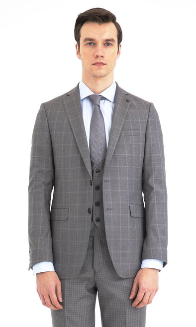 SAYKI Men's Slim Fit Grey Windowpane Wool Suit with Vest