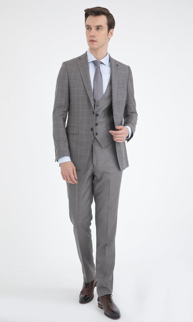 SAYKI Men's Slim Fit Grey Windowpane Wool Suit with Vest-SAYKI MEN'S FASHION