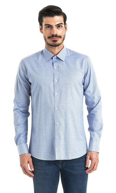 SAYKI Men's Slim Fit Blue Checkered Cotton Shirt