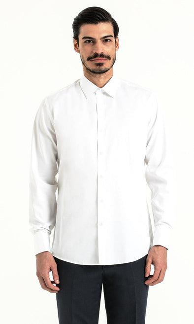 SAYKI Men's White Regular Fit Cotton Shirt