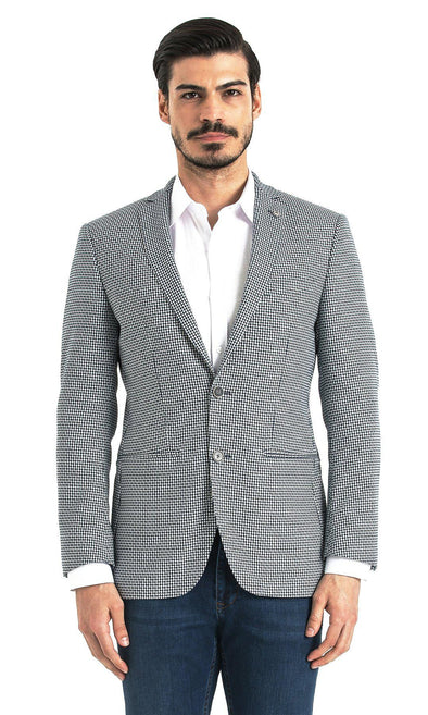 SAYKI Men's Slim Fit Navy Houndstooth Single Breasted Blazer-SAYKI MEN'S FASHION