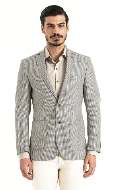 SAYKI Men's Slim Fit Beige Houndstooth Single Breasted Blazer