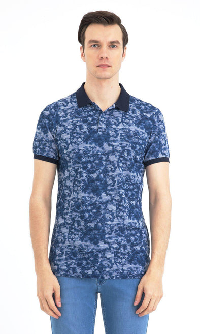 SAYKI Men's Polo Neck Patterned Cotton T-Shirt