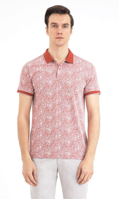 SAYKI Men's Polo Neck Patterned T-Shirt-SAYKI MEN'S FASHION
