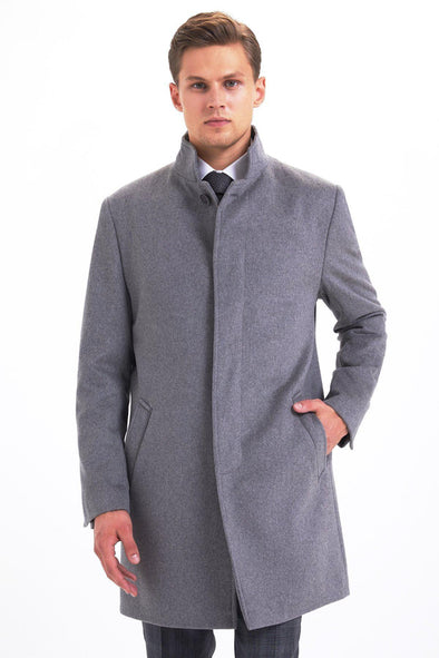 SAYKI Men's Winter Grey Overcoat-SAYKI MEN'S FASHION