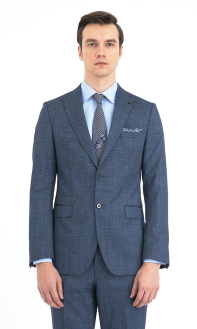 SAYKI Men's Slim Fit Light Navy Single Breasted Suit