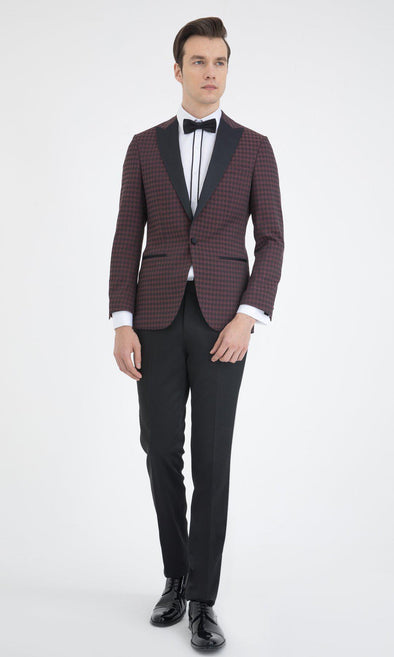 SAYKI Men's Burgundy Slim Fit Houndstooth Tuxedo-SAYKI MEN'S FASHION