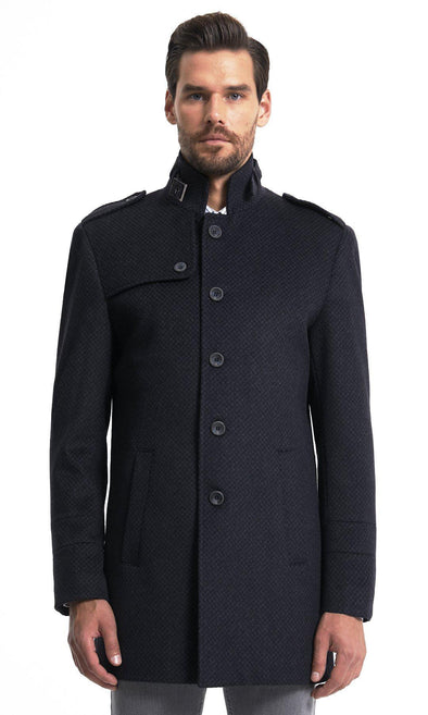 Sayki Mens Three Buttoned Navy Overcoat Default