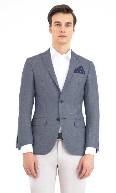 Navy Blue Slim Fit Checkered Blazer