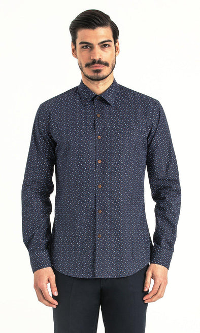 SAYKI Men's Slim Fit Navy Patterned Cotton Shirt