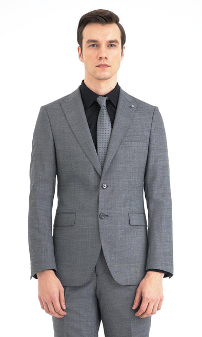 SAYKI Men's Slim Fit Grey Single Breasted Suit