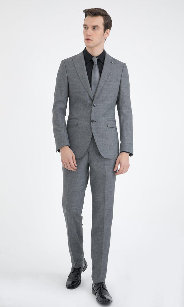 SAYKI Men's Slim Fit Grey Single Breasted Suit-SAYKI MEN'S FASHION