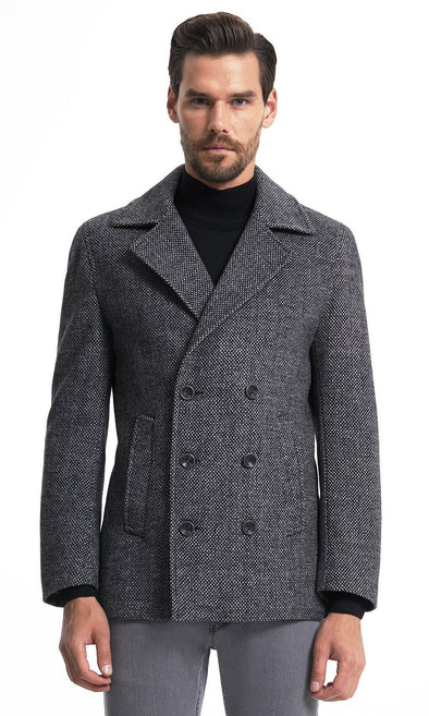 Sayki Mens Grey Patterned Overcoat Default