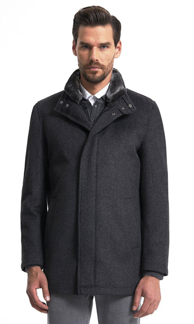 SAYKI Men's Charcoal Patterned Coat-SAYKI MEN'S FASHION