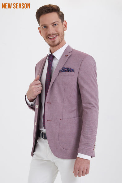 SAYKI Men's Slim Fit Single Breasted Patterned Blazer