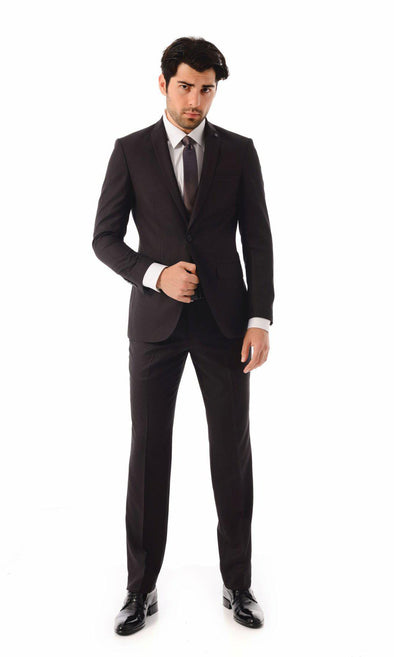 SAYKI Men's Single Breasted Slim Fit Burgundy Suit With Vest-SAYKI MEN'S FASHION
