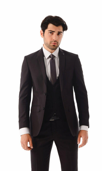 SAYKI Men's Single Breasted Slim Fit Burgundy Suit With Vest