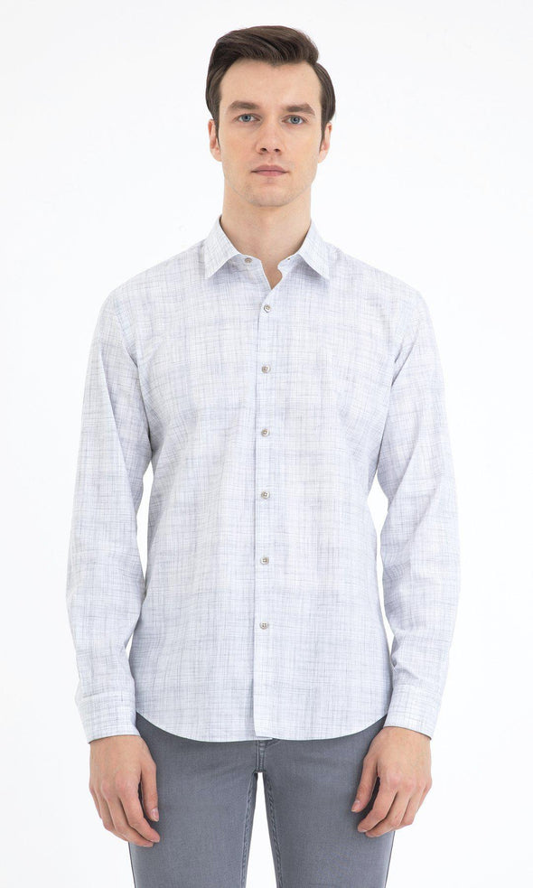 SAYKI Men's Slim Fit Light Grey Checkered Cotton Shirt