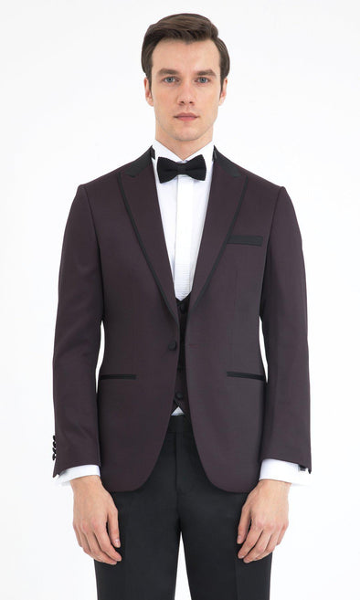 SAYKI Men's Slim Fit Burgundy Single Breasted Tuxedo with Vest