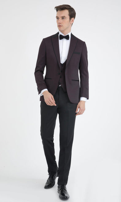 SAYKI Men's Slim Fit Burgundy Single Breasted Tuxedo with Vest-SAYKI MEN'S FASHION