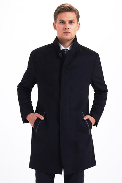SAYKI Men's Black Overcoat-SAYKI MEN'S FASHION