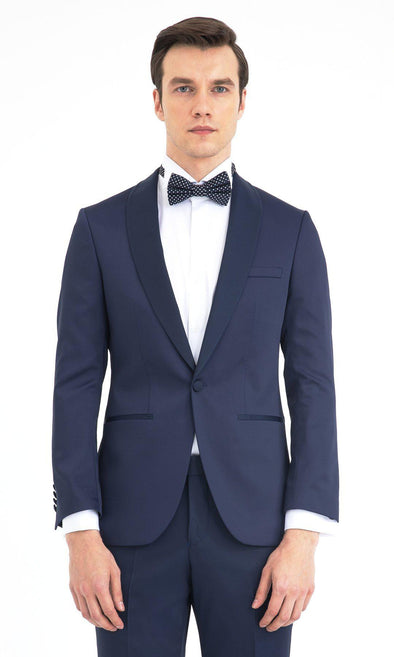 SAYKI Men's Slim Fit Navy Single Breasted Tuxedo