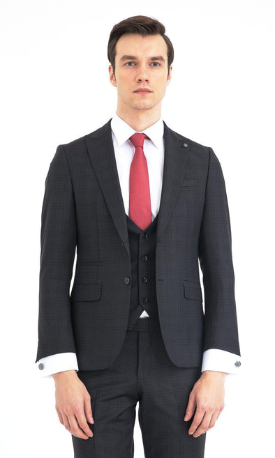 SAYKI Men's Slim Fit Black Checkered Double Breasted Suit with Vest