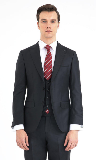 SAYKI Men's Slim Fit  Black Single Breasted Suit with Vest