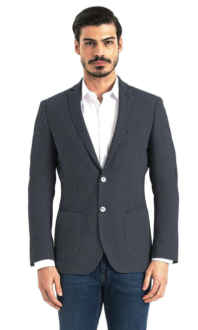 Sayki Mens Slim Fit Navy Polka Dot Single Breasted Blazer Default
