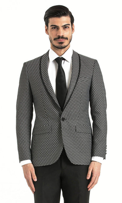 Sayki Mens Slim Fit Grey Polka Dot Single Breasted Blazer Default